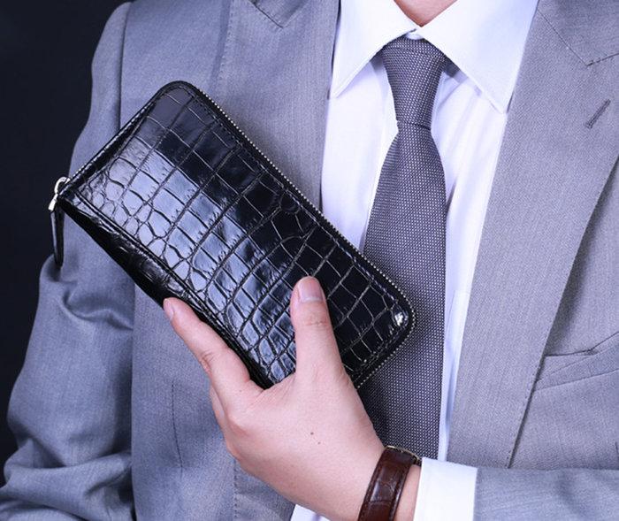 crocodile leather wallet-long