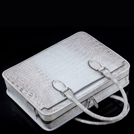 Alligator Briefcase, Alligator Crossbody Business Bag-Top