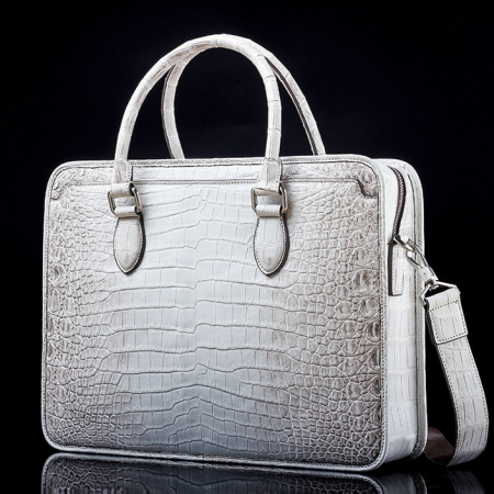 Alligator Briefcase, Alligator Crossbody Business Bag-White