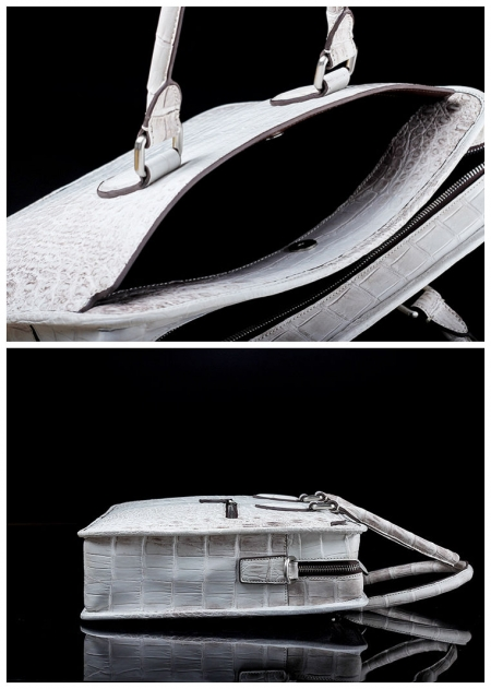 Alligator Briefcase, Alligator Crossbody Business Bag-White-Details