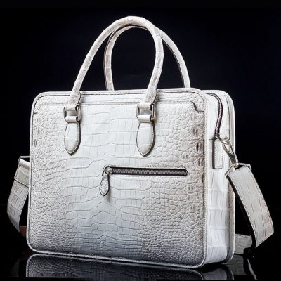 Alligator Briefcase, Alligator Crossbody Business Bag-White-Front