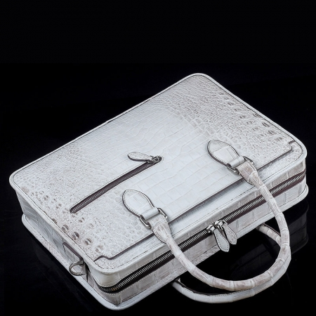 Alligator Briefcase, Alligator Crossbody Business Bag-White-Top