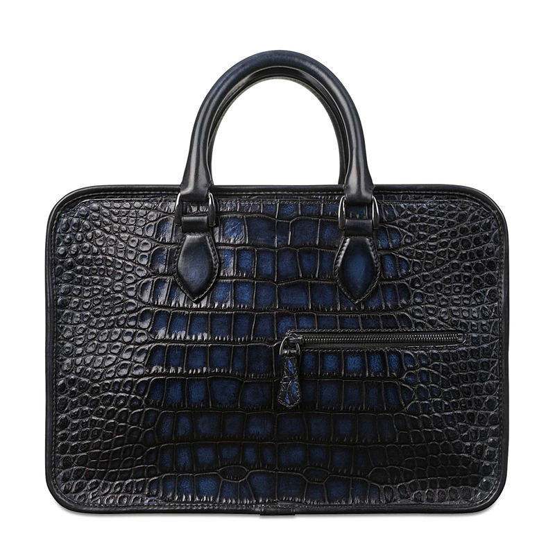 Alligator Briefcase, Alligator Crossbody Laptop Business Bag-Blue