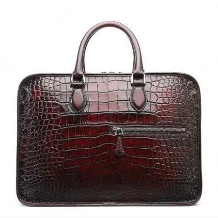 Alligator Briefcase, Alligator Crossbody Laptop Business Bag-Burgundy