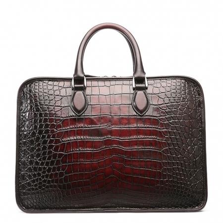 Alligator Briefcase, Alligator Crossbody Laptop Business Bag-Burgundy-Back