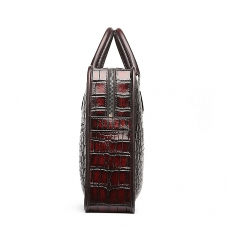 Alligator Briefcase, Alligator Crossbody Laptop Business Bag-Burgundy-Side