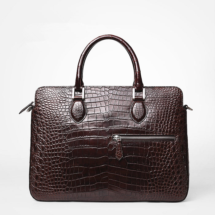 Alligator Briefcase, Alligator Crossbody Laptop Business Bag for Men-Brown