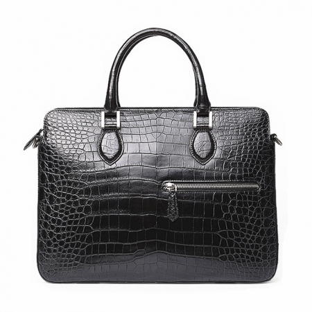 Alligator Briefcase, Alligator Crossbody Laptop Business Bag for Men-Front