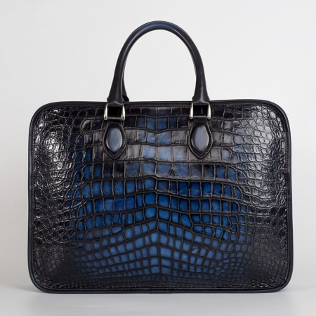 Alligator Briefcase Business Bag for Men-Blue-Back