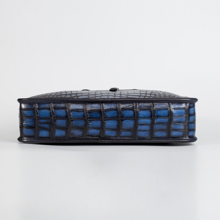 Alligator Briefcase Business Bag for Men-Blue-Bottom