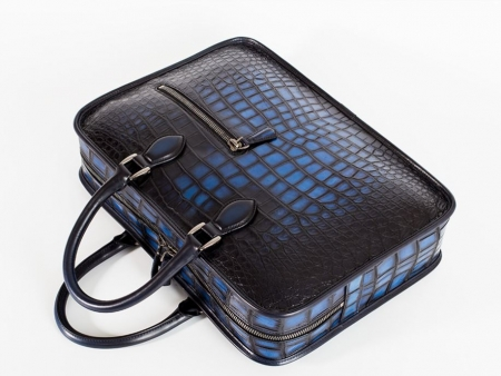 Alligator Briefcase Business Bag for Men-Blue-Details