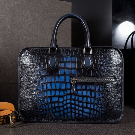 Alligator Briefcase Business Bag for Men-Blue-Display