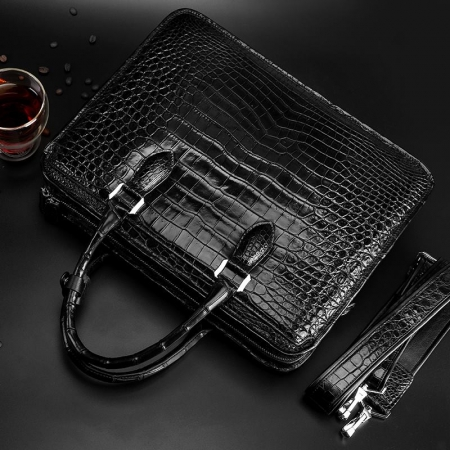 Alligator Briefcase Crossbody Laptop Business Bag-Back-Display