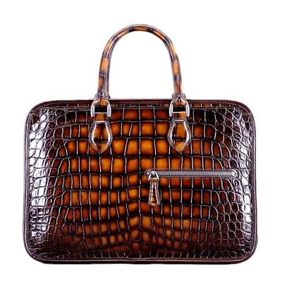Alligator Briefcase Crossbody Laptop Business Bag-Brown