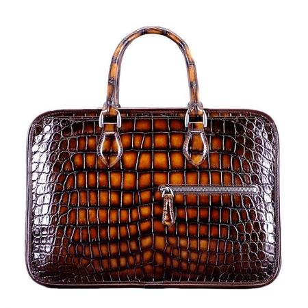 Alligator Briefcase Crossbody Laptop Business Bag-Brown