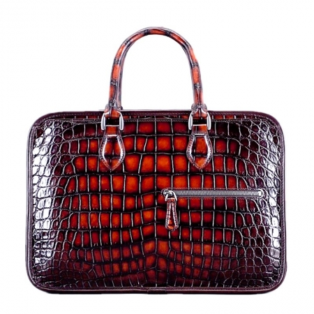 Alligator Briefcase Crossbody Laptop Business Bag-Burgundy