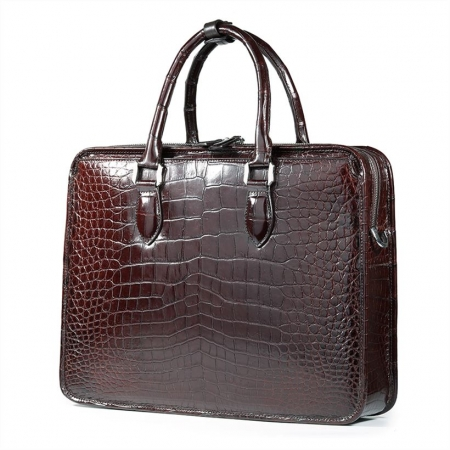 Alligator Briefcase Crossbody Laptop Business Bag for Men-Back
