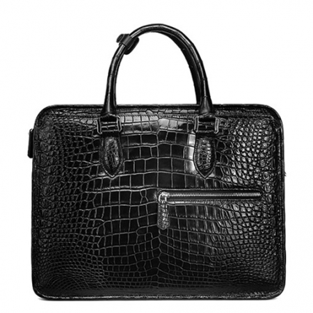 Alligator Briefcase Crossbody Laptop Business Bag for Men-Black