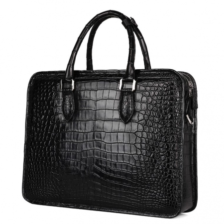 Alligator Briefcase Crossbody Laptop Business Bag for Men-Black-Back
