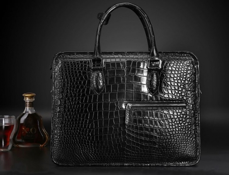 Alligator Briefcase Crossbody Laptop Business Bag for Men-Black-Display