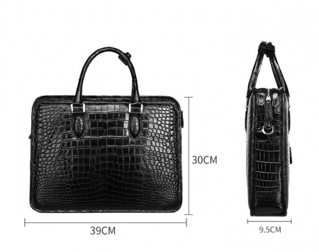 Alligator Briefcase Crossbody Laptop Business Bag for Men-Black-Size