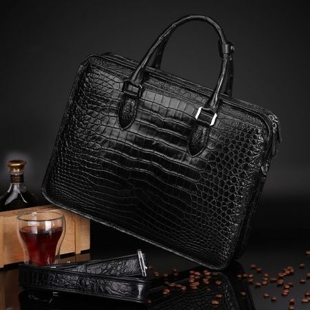 Alligator Crossbody Laptop Business Bag for Men-Black-Back-Display