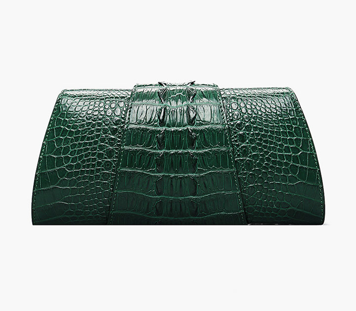 Banquet Crocodile Leather Purse, Evening Crocodile Shoulder Bag-Back