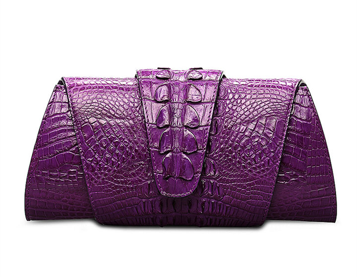 Banquet Crocodile Leather Purse, Evening Crocodile Shoulder Bag, Crossbody Bag-Purple