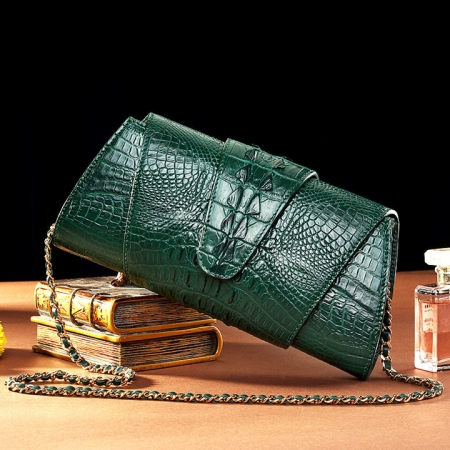 Banquet Crocodile Leather Purse, Evening Crocodile Shoulder Bag-Exhibition