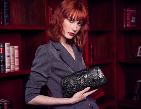 Banquet Crocodile Leather Purse, Evening Shoulder Bag, Crossbody Bag-Black-Display