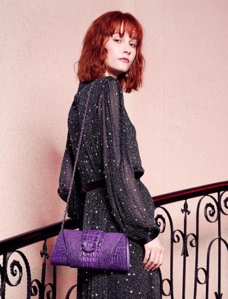 Banquet Crocodile Leather Purse, Evening Shoulder Bag, Crossbody Bag-Purple-Display