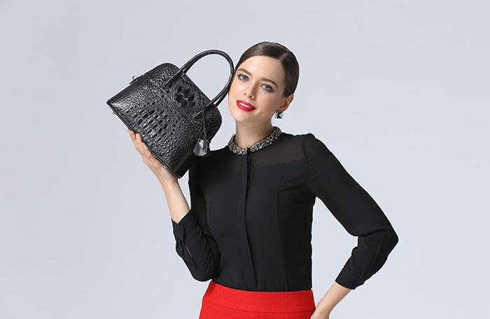 Black Crocodile Leather Handbag for Women BRUCEGAO
