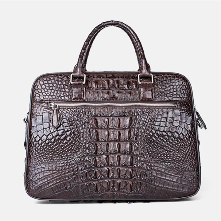 Classic Crocodile Briefcase, Crocodile Shoulder Bag-Back