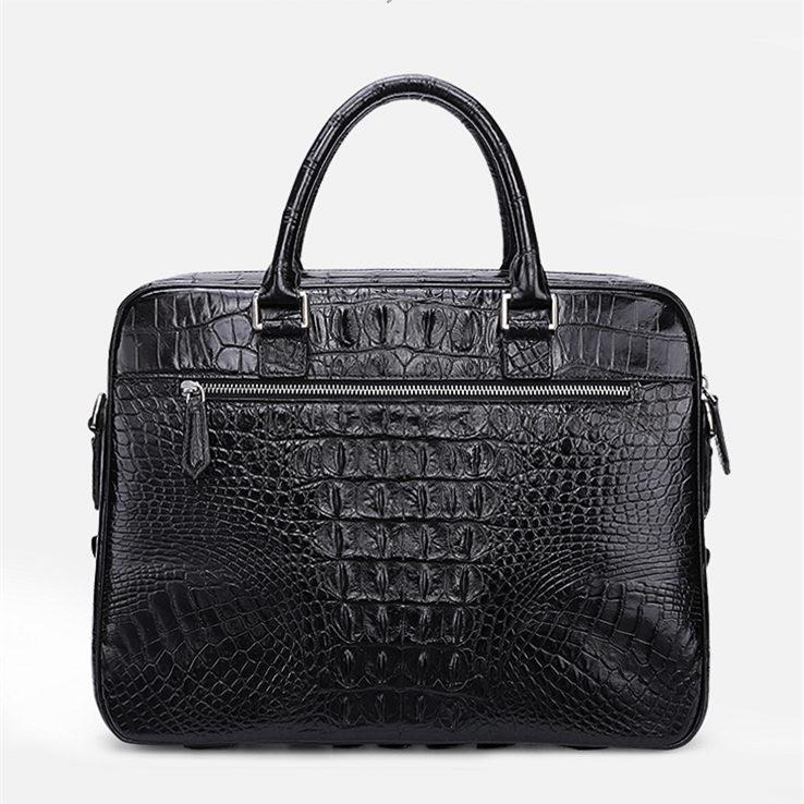 Classic Crocodile Briefcase, Crocodile Shoulder Bag, Crossbody Bag for Men-Back