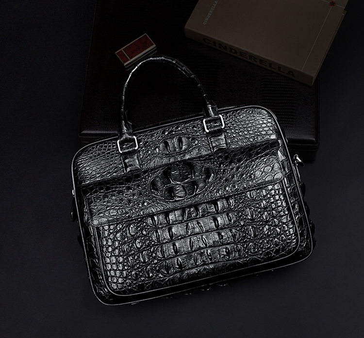 Classic Crocodile Briefcase, Crocodile Shoulder Bag, Crossbody Bag for Men-Exhibition
