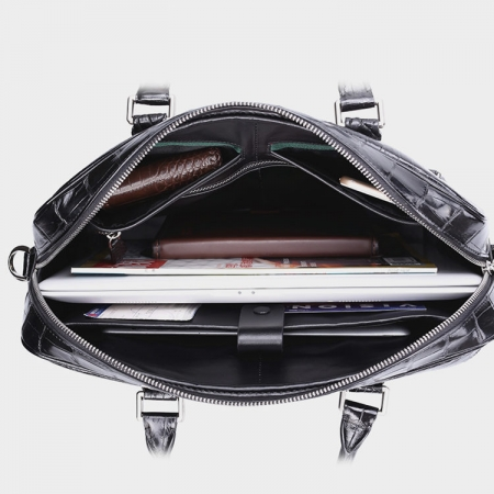 Classic Crocodile Briefcase, Crocodile Shoulder Bag, Crossbody Bag for Men-Inside