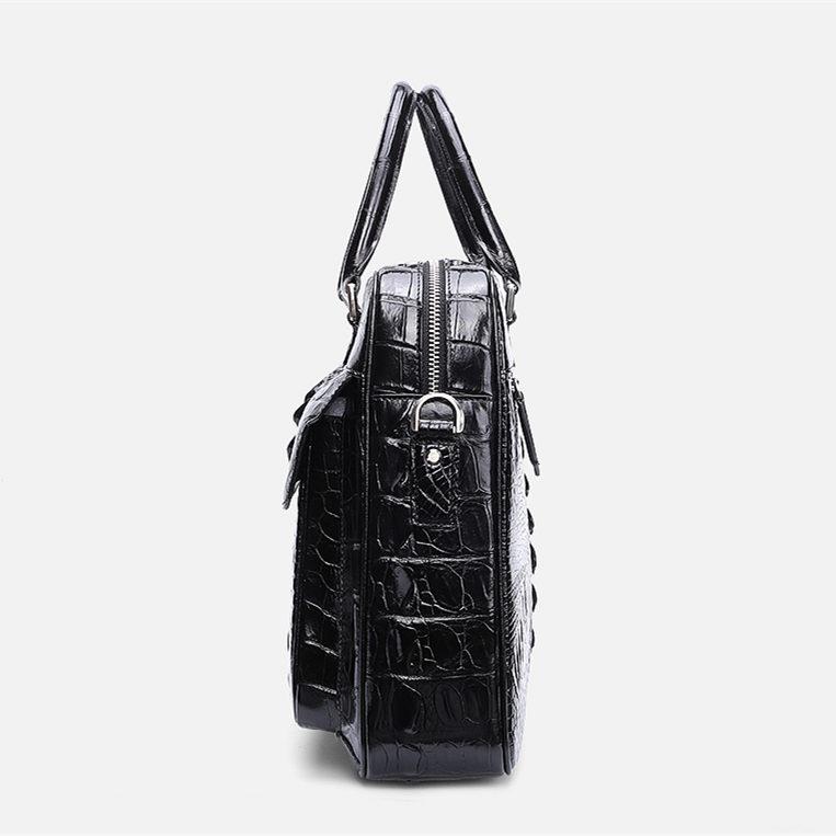 Classic Crocodile Briefcase, Crocodile Shoulder Bag, Crossbody Bag for Men-Side