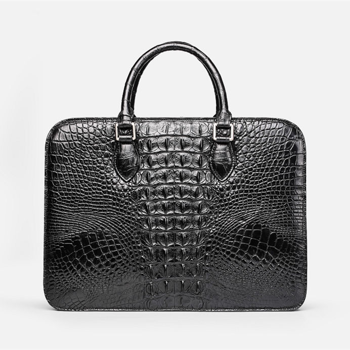 Crocodile Briefcase, Luxury Crocodile Business Bag for Men-Back