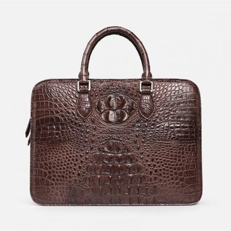 Crocodile Briefcase, Luxury Crocodile Business Bag for Men-Brown