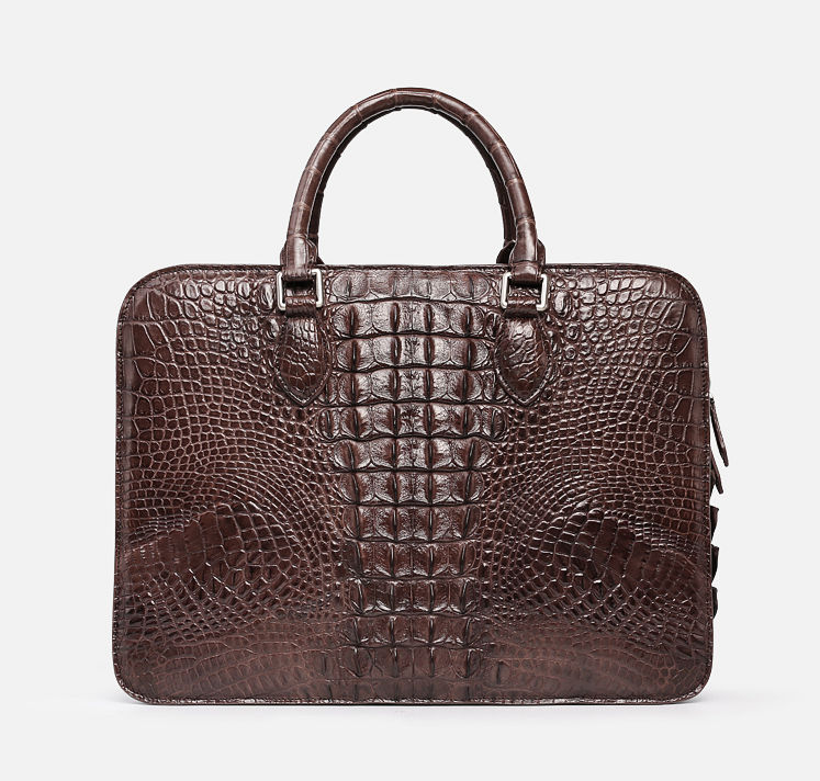 Crocodile Briefcase, Luxury Crocodile Business Bag for Men-Brown-Back
