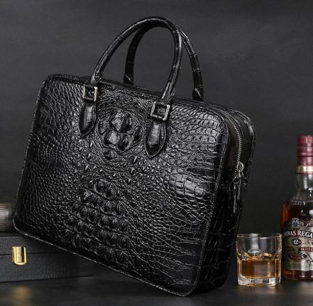 Crocodile Briefcase, Luxury Crocodile Business Bag for Men-Exhibition