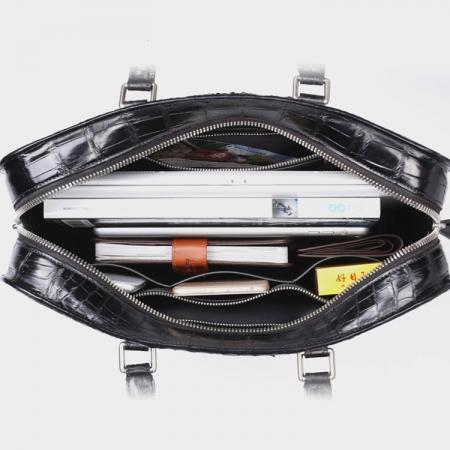 Crocodile Briefcase, Luxury Crocodile Business Bag for Men-Inside