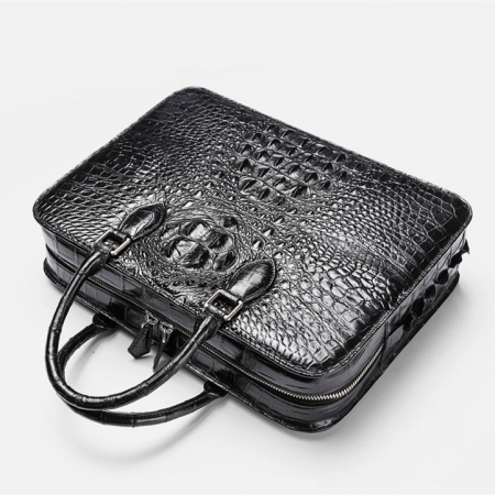 Crocodile Briefcase, Luxury Crocodile Business Bag for Men-Top