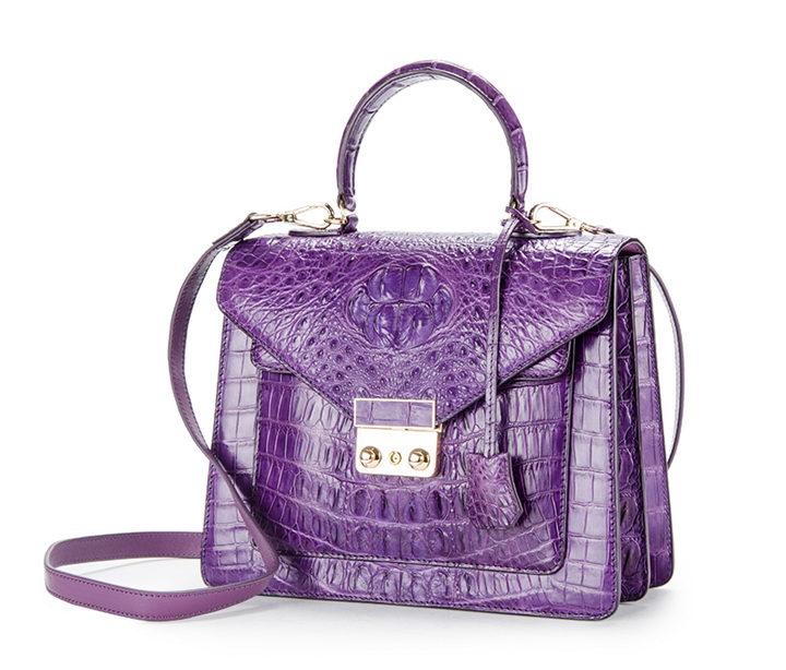 Crocodile Evening Handbag and Clutch Party Wedding Purse-Purple