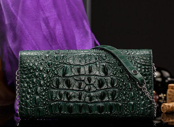 Crocodile Leather Purse, Crocodile Leather Clutch Bag, Crossbody Bag, Shoulder Bag-Back