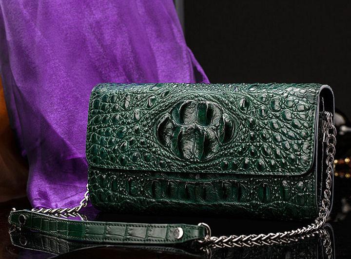 Crocodile Leather Purse, Crocodile Leather Clutch Bag, Crossbody Bag, Shoulder Bag-Front