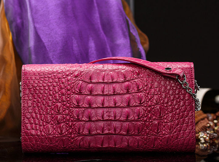 Crocodile Leather Purse, Crocodile Leather Clutch Bag, Crossbody Bag, Shoulder Bag-Pink-Back
