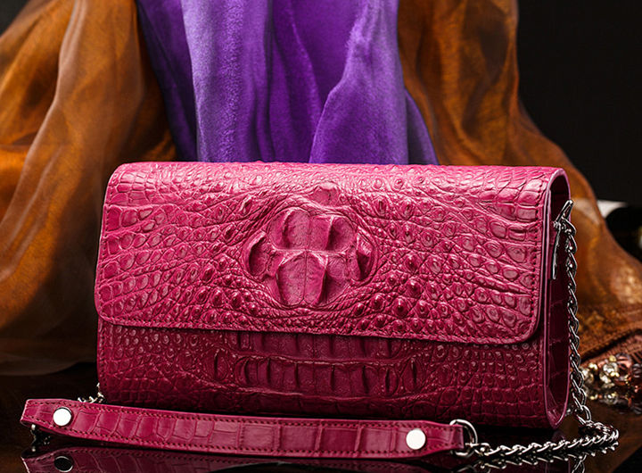 Crocodile Leather Purse, Crocodile Leather Clutch Bag, Crossbody Bag, Shoulder Bag-Pink-Front