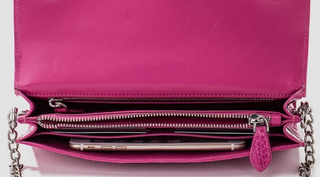 Crocodile Leather Purse, Crocodile Leather Clutch Bag, Crossbody Bag, Shoulder Bag-Pink-Inside