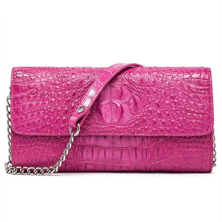 Crocodile Leather Purse, Crocodile Leather Clutch Bag, Crossbody Bag, Shoulder Bag-Pink